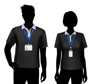 Employees Silhouettes ID Cards Badges