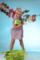 woman cleaning her shoes