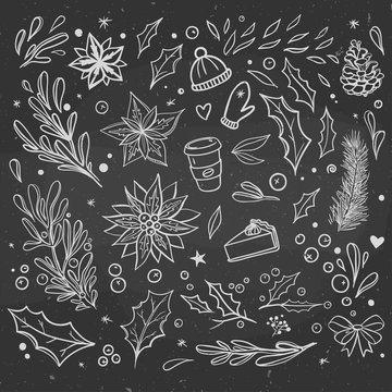 winter doodles set