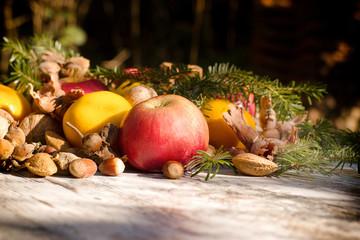 Seasonal organic fruit, healthy food in autumn