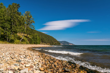 The coast of Lake Baikal, the Great Baikal Trail