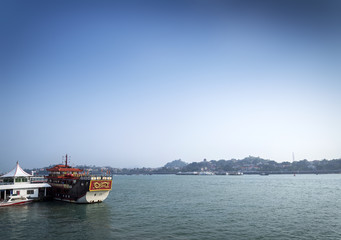 Gulangyu island and tourist river ferry boat in xiamen china