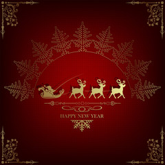 red, dark background with Santa Claus on deer and silhouette of golden snowflake
