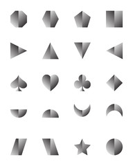 3D set of geometric shapes silver color isolated on white background