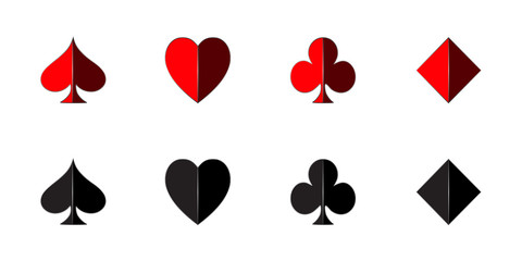3D set of playing card in black and red with shadow isolated on white background
