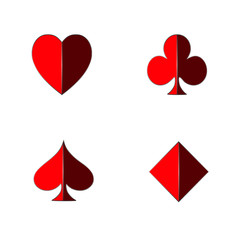 3D set of playing card in red with shadow isolated on white background
