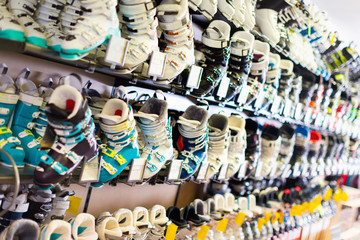 Image of boots for skiing on shelves