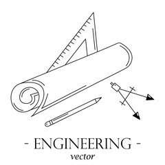 Engineering logo with drawing instruments.