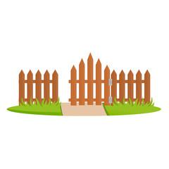 Decorative wooden fences. Exterior, design gates and landscape.