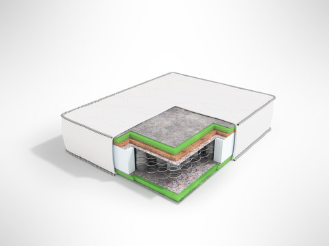 Modern orthopedic mattress white dismantled in a section with springs 3d rendering on a gray background