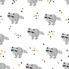 Seamless vector pattern with cute raccoons.