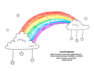 Cartoon rainbow and clouds isolated on white. Colorful vector illustration.