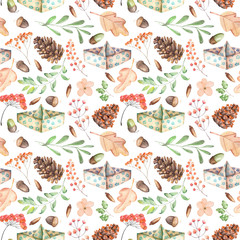 Seamless autumn pattern with watercolor fir cones, paper boats, rowan tree branches and berries, oak acorns, hand painted on a white background