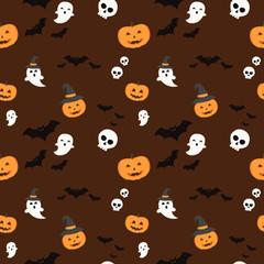 Pattern halloween bats, halloween ghost and hallowen orange pumpkin on dark red background. Hallowen pattern black bats, white ghost and orange pumpkin on dark red background