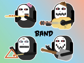 vector abstract band character illustration