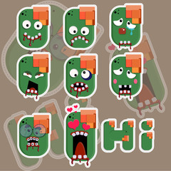 Zombie face stickers vector illustration