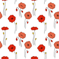 color vector simple  illustration of decorative poppy flower pattern on white background