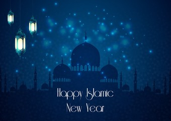 Happy islamic new year with silhouette mosque and lantern