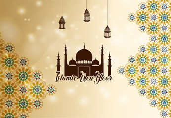 Islamic new year greeting background silhouette mosque