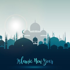 Happy islamic new year with silhouette mosque