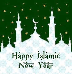Islamic new year with mosque and ornament pattern