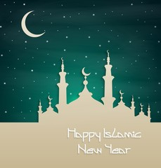 Islamic new year with silhouette mosque at night