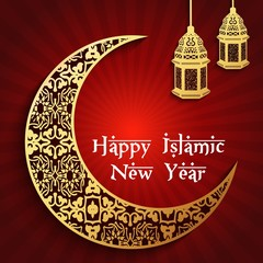 Islamic new year with gold crescent moon and hanging lantern