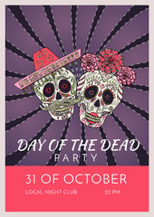 Day of the dead party poster template with two sugar skulls