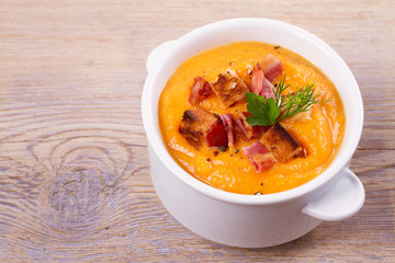 Butternut Squash and Bacon Soup in White Bowl, horizontal
