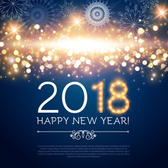 Happy New 2018 Year! Lights Background with Bokeh Effect, Snow and Fireworks. Vector illustration