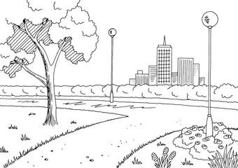 Park graphic black white lamp landscape sketch illustration vector