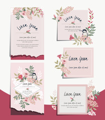 Vector illustration set of hand drawn cards for wedding, anniversary, birthday and party. Design for banner, poster, card, invitation, brochure and scrapbook