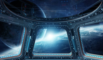 View of outer space from a space station window 3D rendering elements of this image furnished by NASA
