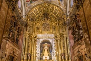 Seville - The nave of church Basilica de la Macarena