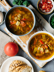 Vegetable soup made of green beans