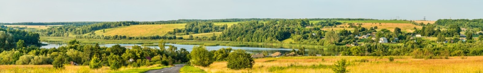 Panorama of Glazovo, a typical village on the Central Russian Upland, Kursk region of Russia