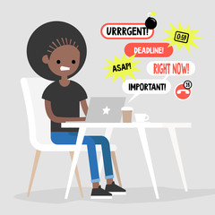 Black female manager receiving a bunch of notifications on the laptop messenger. Troubleshooting. Deadlines and urgent tasks. Business situation. Flat editable vector illustration, clip art