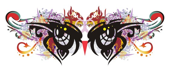 Carnival mask in the form of owl's eyes. Fantastic mask for a masquerade with colorful splashes and red arrows