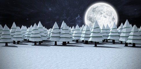 Composite image of snow covering christmas trees on field at