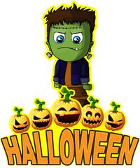 Halloween Poster with Frankenstein