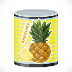 Tin can with canned pineapple isolated on a white background