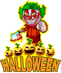 Halloween Poster with clown holding a knif