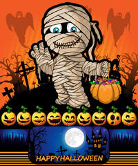 Halloween poster with mummy. Vector illustration.
