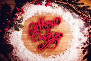 Composite image of three dimensional of merry christmas text in