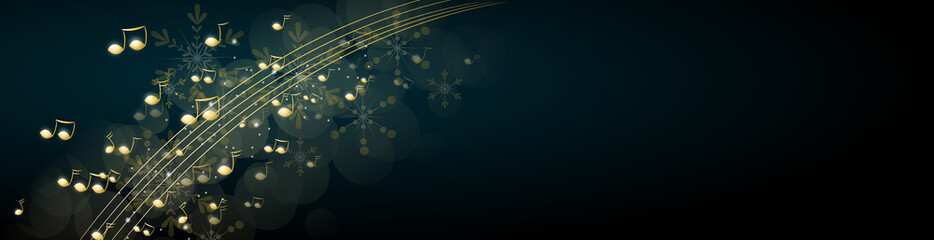 Christmas background decorated with music notes