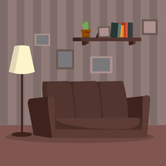 Home Interior Vector. Cartoon Flat Classic Room Interior Concept. Modern Living Room Illustration