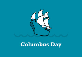 Columbus Day vector. Old sailing ship. Important day