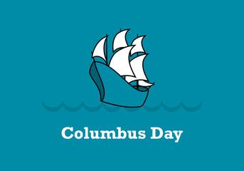 Columbus Day vector. Old sailing ship. Important day