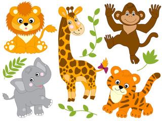 Vector Set of Jungle Animals