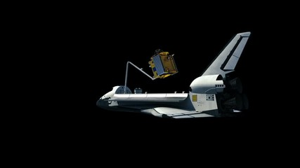 Fotomurales - Space Shuttle Deploying Communication Satellite. Alpha Matte.. 3D Animation.